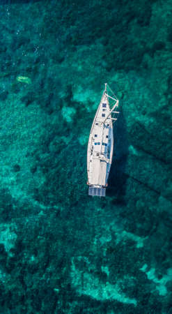 Aerial drone shot view of yachts in mediterranean sea in summer time near Nice, south France Stok Fotoğraf