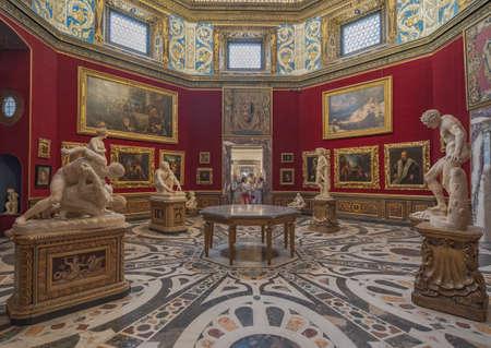 Florence, Italy - August 25: interior and arts of Uffizi Gallery art museum near Piazza della Signoria Editorial