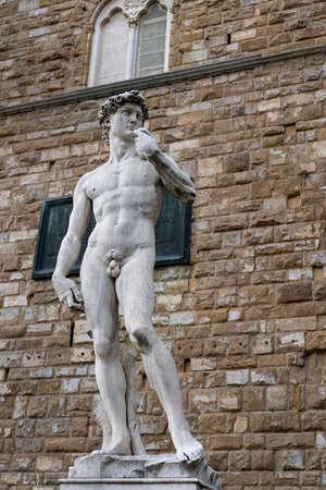 Florence, Italy - August 26, 2018: Michelangelos statue David in Piazza della Signoria in Historic Centre of Florence Sajtókép