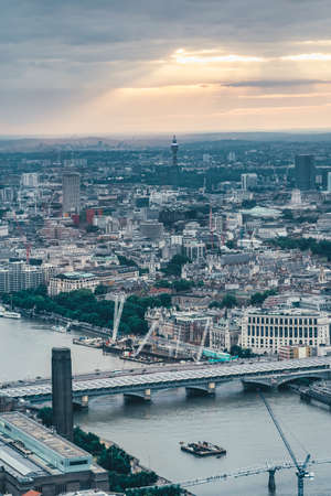 View of Blackfriars Bridge and UK broadcasting tower from the top of Shard