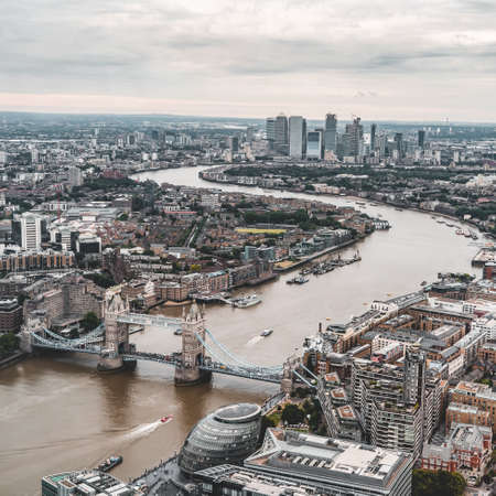 View of tower bridge and Thames river in London from the top of the Shard