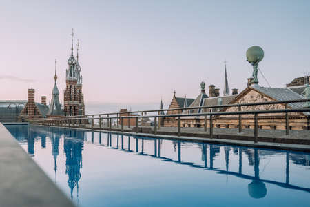 Magna Plaza view from rooftop pool in Amsterdam, Netherland