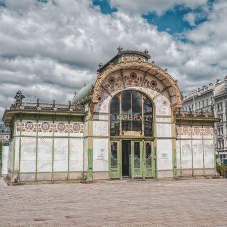 Old station of Karlsplatz near Karlskirch in sunny day in Vienna
