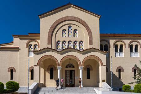 Kefalonia, Greece - August 22, 2019: Saint Agios Gerasimos church in Omala , Cephalonia island