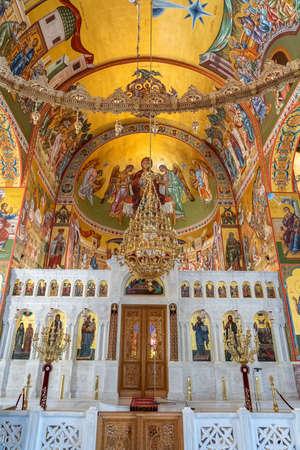 Kefalonia, Greece - August 22, 2019: Gold fresco inside the Church of Gerasimus of Kefalonia in Greek Ionian Island