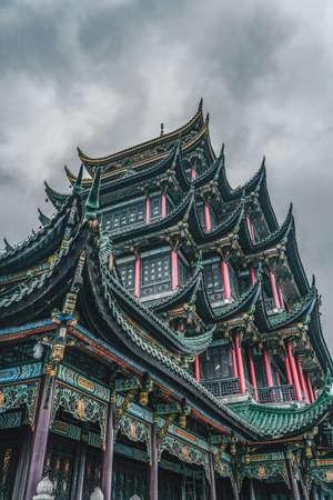 Ancient Hong'en Pagoda tower with green brick red columns in Chongqing, southwest metropolis in China