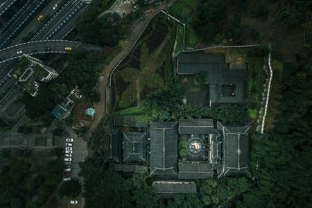 Aerial drone shot of Guanyue Tao Temple with Buagua diagram symbol in Chongqing, southwest China 免版税图像