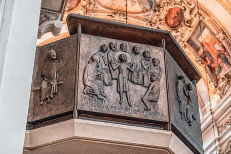 Artwork Copperplate of jesus surrounded by saints inside Salzburg Cathedral
