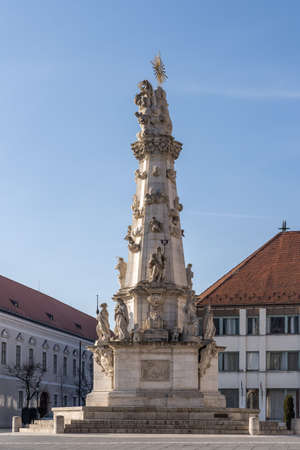 Trinity Column at Fisherman's bastion outside Matthias church in Budapest in winter