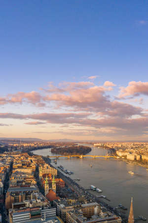 Aerial drone sunset view of Margitsziget Margret Island in Danube river in Budapest winter Stok Fotoğraf