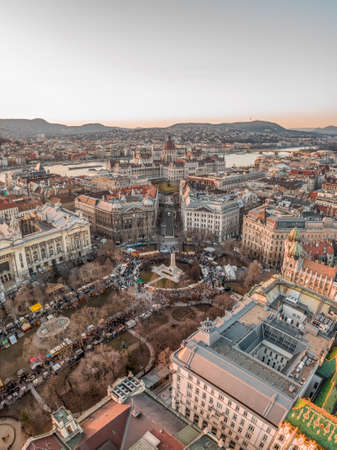 Aerial drone shot of Liberty Square Budapest downtown during sun