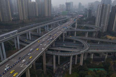 Aerial drone shot of flyover highway to EGongYan Bridge in Chongqing, China