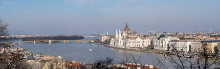 Panoramic view of of Szenchenyi Chain bridge over Danube river in Budapest winter time