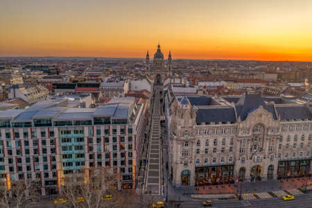 Aerial drone shot of zrinyi utca street before St. Stephen Basilica before Budapest sunrise