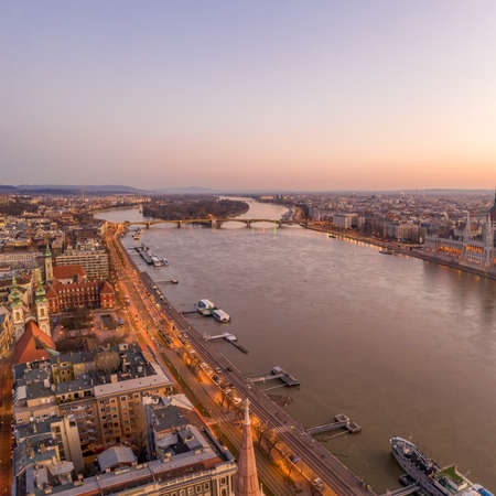 Aerial drone shot of Margaret Island in Danube river before Bupdapest sunrise