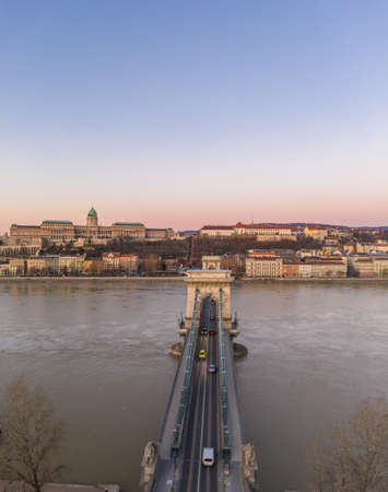 Aerial drone shot of Chain bridge before Buda Castle before Budapest sunrise