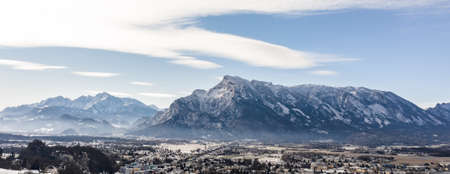 Aerial drone view of Salzburg snowy Unesberg mountain in winter morning Stockfoto