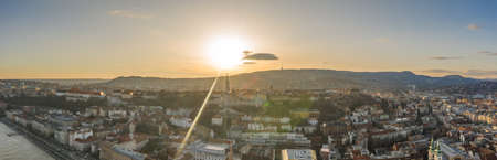 Panoramic aerial drone view of Fishermans Bastion on Buda Hill Budapest in sunset in winter
