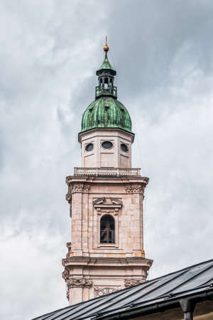 Steeple with onion dome of St. Peter Abbey in old town of Salzburg, Austria Stockfoto