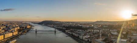 Panoramic aerial drone view of Danube River Buda Castle on hill