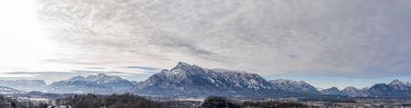 Panoramic aerial drone shot view of Austrian Alps snowy untersberg