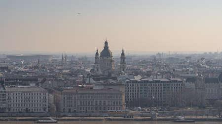 Budapest skyline of St. Stephens Basilica before sunrise in winter