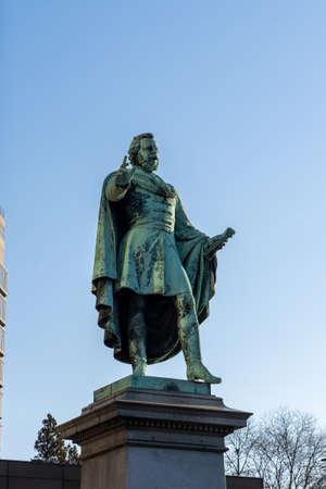 Bronze statue of Baron Jozsef Eotvos on the street