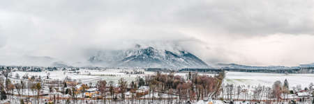 Panoramic aerial view of Snow mountain Untersberg near Salzburg Outskirts in winter time