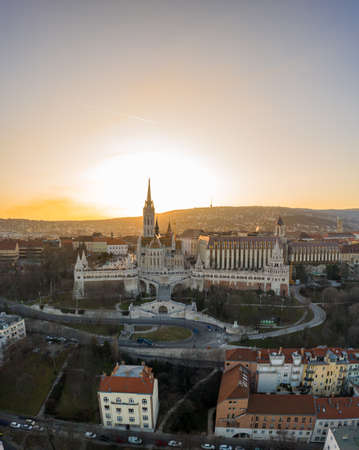 Aerial drone shot of Fishermans Bastion on Buda Hill in Budapest sunset