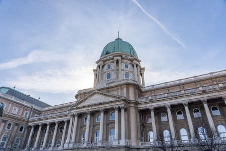 Dome facade of national gallery at Buda Palace in Budapest winter morning Stockfoto