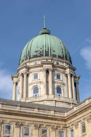Upward dome view of Buda Castle royal palace in morning
