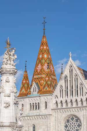 Facade view of Matthias Church on fisherman's Bastion on buda hill in Budapest winter morning Stockfoto