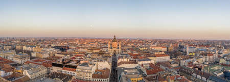Panoramic aerial drone shot of St. Stephen Basilica during Budap