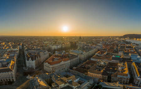 Aerial drone shot of east facade of St. Stephens Basilica in Budapest sunrise morning glow Stockfoto