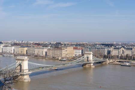 View of Szechenyi Chain bridge over Danube river in Budapest winter