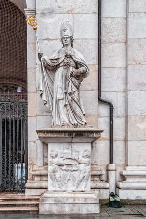 St. Vergilius statue at the front gate of Cathedral of Salzburg archdiocese