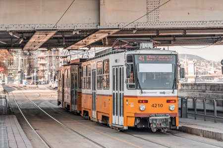 Budapest, Hungary - Feb 9, 2020: Famous Line 41 yellow tram trol Redactioneel