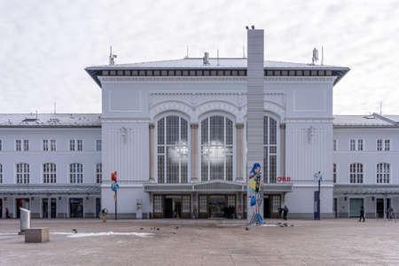 Feb 6, 2020 - Salzburg, Austria: Salzburg train station OBB fraont facade