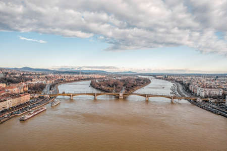 Aerial drone shot of Margret Bridge over Danube in Budapest winter morning