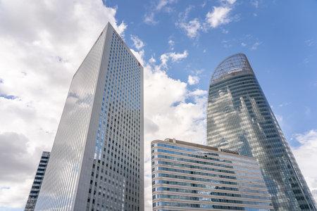 Paris, France - Jun 13, 2020: Upward view of Skyscrapers in La Defense Editorial