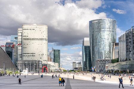 Paris, France - Jun 13, 2020: La Defense Esplanade in afternoon with sun light