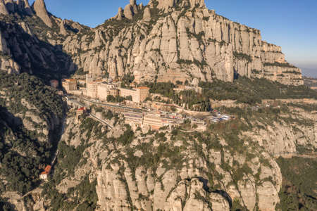 Aerial drone view of Abbey of Montserrat mountain near Barcelona in morning sunrise near Barcelona