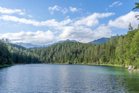 Eibsee lake below Zugspitze in summer Germany