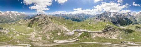 360 aerial panoramic view of serpentine high alpine road in Grossglockner Edelweissspitze in Austria Imagens