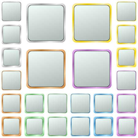 square button: Light silver blank square metal button design set