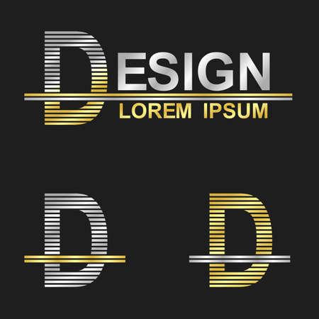 letter d: Metallic business symbol font design - letter D design