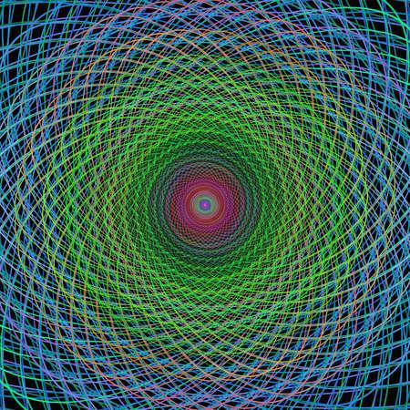 wired: Multicolor wired fractal spiral design Illustration