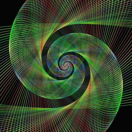 wired: Green wired fractal spiral design background