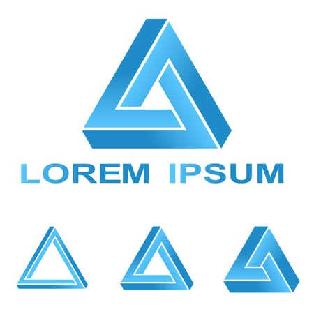 Blue Penrose triangle technology company symbol design set