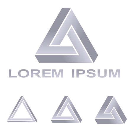 Silver Penrose triangle technology company symbol design set Ilustrace